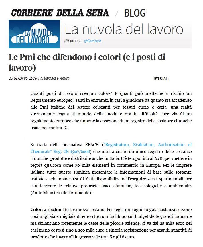 La Nuvola del Lavoro - Corriere Della Sera - 13 Gennaio 2016